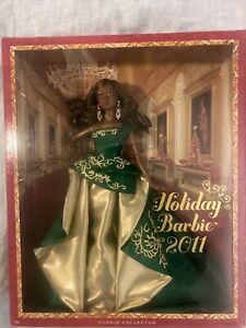 2011 Holiday Black Barbie African American Emerald Green Gown