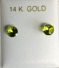 New 14k Gold Birthstone (August) 1/2ct Stud Earrings