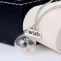 Fashion Women Real Dandelion Seeds Lucky Glass Wishing Bottle Pendant Necklace