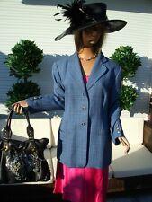 LUXUS LANDHAUS ESCADA LUXUS DESIGN Blazer Jacket blau KARO 44/46 Shabbykarriert