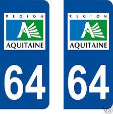 stickers autocollants plaques immatriculation auto Département 64