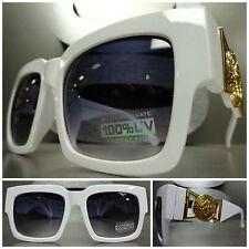 CLASSIC RETRO 80s VINTAGE GANGSTER HIP HOP RAPPER SUN GLASSES White & Gold Frame