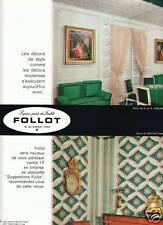 Publicité ancienne papier peint Follot 1963 issue de magazine
