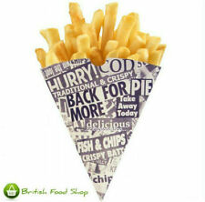50 News Print Newspaper Design Chip Shop Cones - Party BBQ Catering TRACKED POST