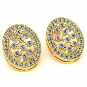 Real 1.25carat Round Cut Diamond Ladies Oval Checkered Earrings 18K Gold