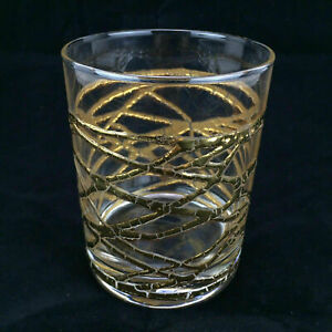Gold Tone Clear Glass Tumbler Cocktail Lowball Old Fashioned