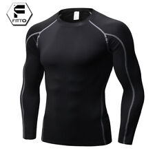 Mens Compression Base Layer Sports Shirt Long Sleeve Vest Athletic Top Gym Wear