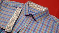 Robert Graham Men's L Colorful Geometric Check Print Short Sleeve Shirt NWT $178