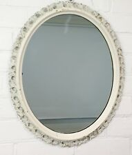 Original Vintage Rustic Style Ornate White Wall Hanging Oval Mirror - 952