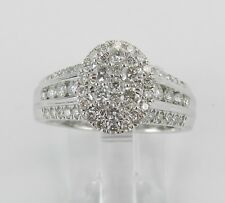 Cluster Cocktail Right Hand Size 7 14K White Gold Diamond Engagement Ring Oval
