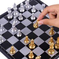 Jeu d'échecs médiéval haute qualité couleur or et argent, 32 pièces magnétiques