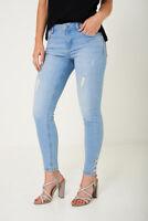 Ladies Women's Distressed Detail Criss-cros Lace up Skinny Blue Wash Jeans Denim