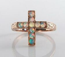 9CT ROSE GOLD CRUCIFIX  OPAL RELIGIOUS CROSS RING  FREE RESIZE