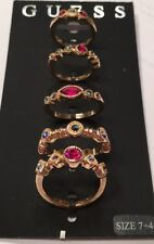 NWT Guess Gold Metal & Jewel-tone Color Stones 5 Ring/Midi Ring Set-Sz 7 & 4