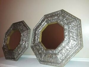 Vintage  Pair Silver Grey  Octagon Gilded Floral Wood Wall Mirrors