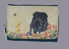 PUG BLACK DOG DENIM BLUE FABRIC PURSE WALLET WATERCOLOUR PRINT SANDRA COEN ART