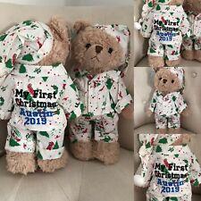 Personalised Powell Craft Teddy Bear In Christmas Pyjamas PJs & Nightcap