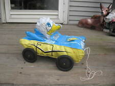 1950's Donald Duck Inflatable Pull Toy Car Made In Japan Rubber Wheels Holds Air