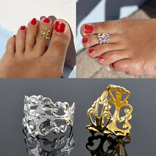 1X Fashion Celebrity Simple Retro Flower Design Adjustable Toe Ring Foot Jewelry