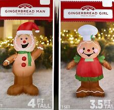 Airblown Inflatable Gingerbread Man and Girl Set Outdoor Christmas Characters