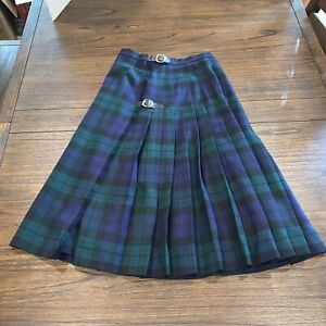 Vintage Helen Macdonald of Ayre Scottish Kilt Plaid Blue Green Skirt Sz 6 Tartan
