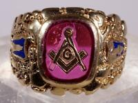 Men's Ruby Masonic Ring Nugget Style Size 10.5 10 K Yellow Gold