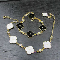 Un Pulsera Dorado Doble Lado Esmalte Blanco Negro Luck Flor Retro Clase CT 7