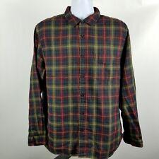 Carbon2Cobalt Mens Blue Red Plaid Flannel L/S Casual Button Shirt Sz Large L