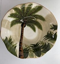 """Tabletops Lifestyles Kona Palm Tree Scalloped Serving Bowl 11"""" Hand Painted"""