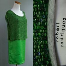 Robert Rodriguez Beaded Dress Lime Green Silk Top Entirely Covered In Beads XS 0