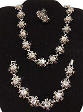 """Vtg Coro Rhinestone Floral 14.5"""" Choker Necklace Earrings Bracelet-Estate"""
