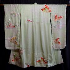 "Vintage Japanese Furisode Kimono Green Robe Woman's Silk ""Butterfly Whimsy"""