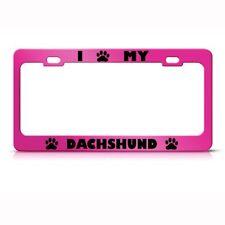DACHSHUND DOG PINK License Plate Frame Tag Holder