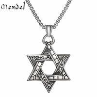 MENDEL Mens Stainless Steel 6 Point Star Hexagram Star of David Pendant Necklace
