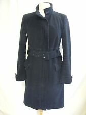 "Ladies Coat NAFNAF, black lined soft cotton, size 38, belt, 39"" long, warm 2037"