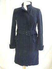 """Damen Mantel NAFNAF, schwarze gefütterte weiche Baumwolle, Größe 38, Gürtel, 39"""" lange, warme 2037"""