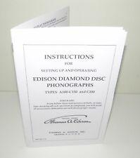 Edison Diamond Disc  Phonograph A100 C150 C200 Instruction Manual Reproduction