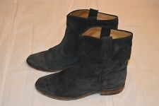 Isabel Marant Navy Blue Crisi Suede Leather Flat Ankle Wedge Boots EU40 UK7