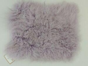 "Pottery Barn Teen Mongolian Fur Pillow Cover 12x16"" Dusty Lilac Purple NWT"