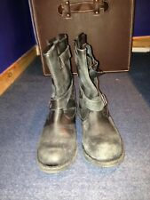 Zara Black Grey Distressed Leather Biker Buckle Boot 6