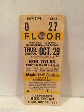 Bob Dylan Concert Ticket Stub 10-29-1981 Toronto Maple Leaf Gardens - Rare