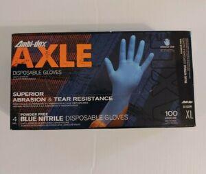 100/Box Blue XL Ambi-Dex Axle Disposable Nitrile 4 Mil Blue, Powder Free Texture