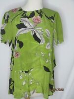 Vineet Bahl Green Floral Layered Top BLouse S Lyocell Rayon Black Pink White
