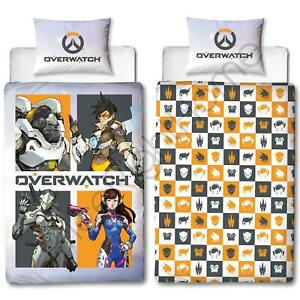 Overwatch Grid Single Duvet Cover Set Reversible Bedding Kids Gamers