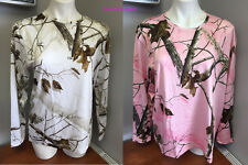 Realtree Pink or White Camo Thermal Crew Neck Athletic Hunting Long Sleeve Shirt