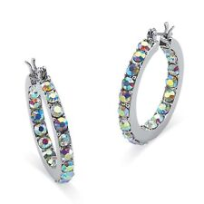 Silver Tone Inside out Hoop Earrings 30mm Round Aurora Borealis Crystal