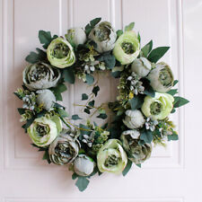 Diy Artificial Rose Flower Wreath Door Hanging Peony Garland Wedding Home Decor