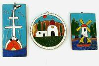 Vintage Handmade Ceramic Clay Redware Tiles Wall Hangings Set of 3