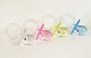 """1-3/4"""" 1.75"""" Clear Pacifiers Baby Shower Game Party Decoration Favors 4 Colors"""