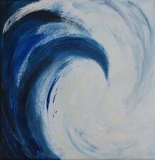 Peinture originale acrylique toile tableau Jeux des vagues 7 abstrait signé